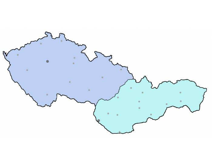25 Cities of Czech Republic and Slovakia