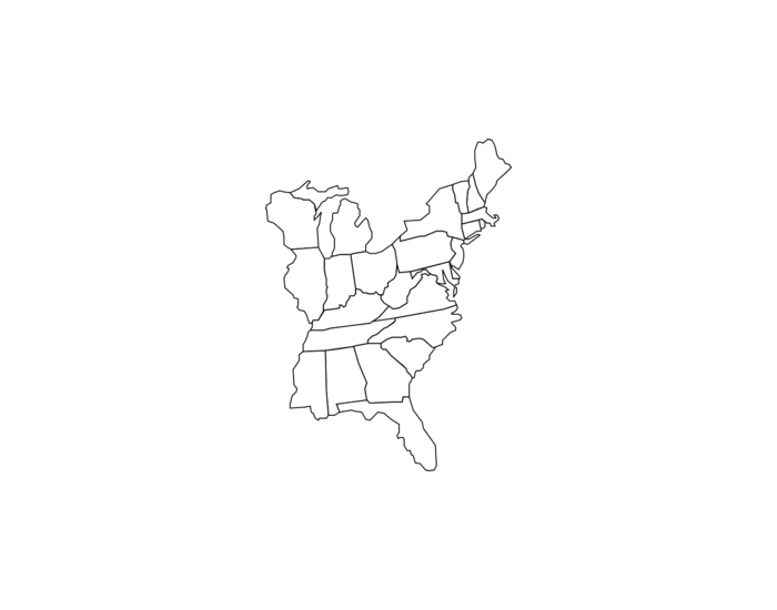 Eastern US Map Quiz PurposeGames - Map of the eastern us