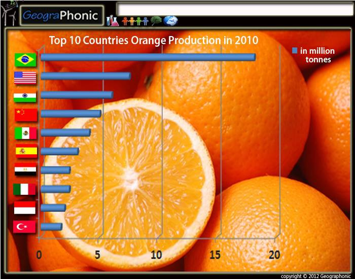 Top 10 Countries Orange Production in 2010