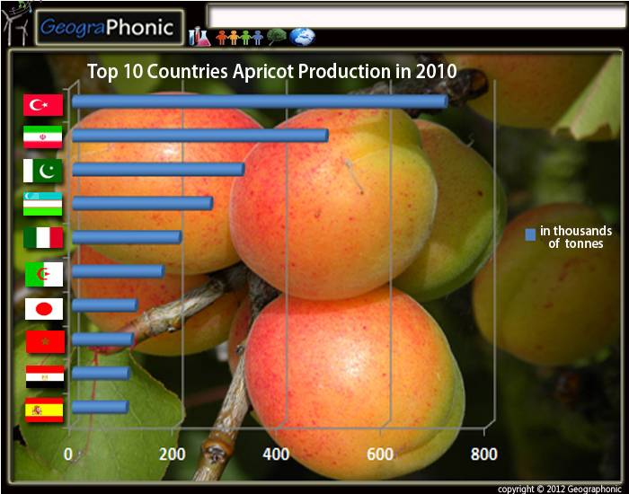 Top 10 countries Apricot Production