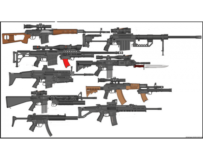 some assult rifles and some sniper rifles