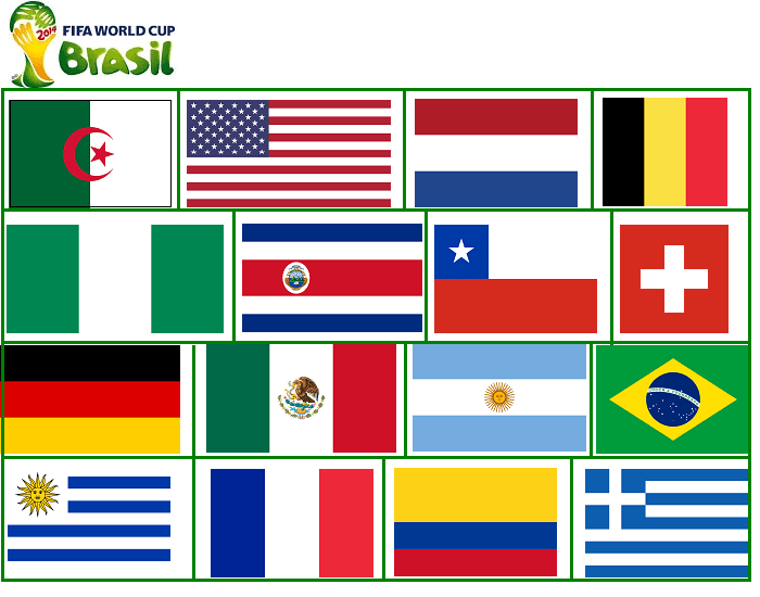 FIFA World Cup 2014 - Round of 16 (flags)