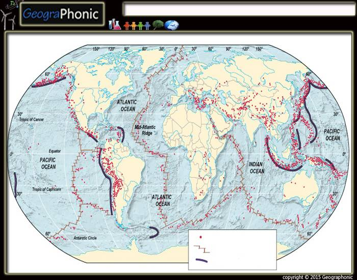world map of oceanic trenches