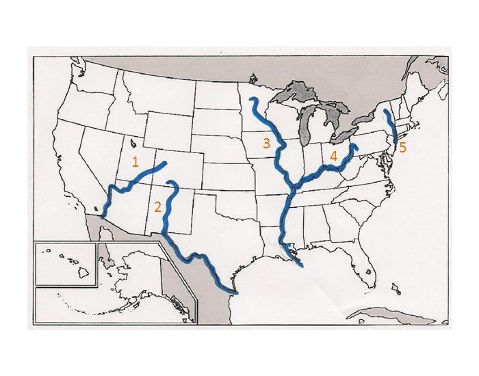 APUSH Map Rivers Mountains Seas Cities - Rivers in the us map