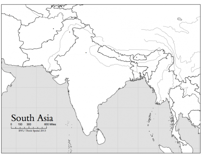 South Asian countries map game