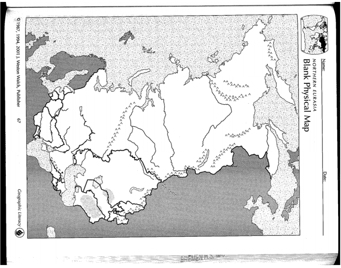 Northern Eurasia Physical Map - PurposeGames