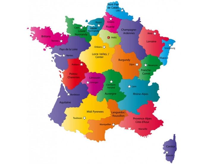 France with its 13 regions