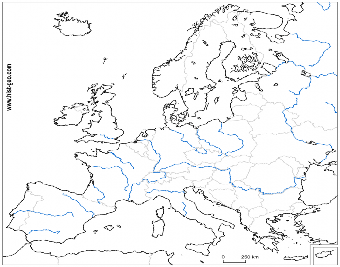Western Europe Physical Map