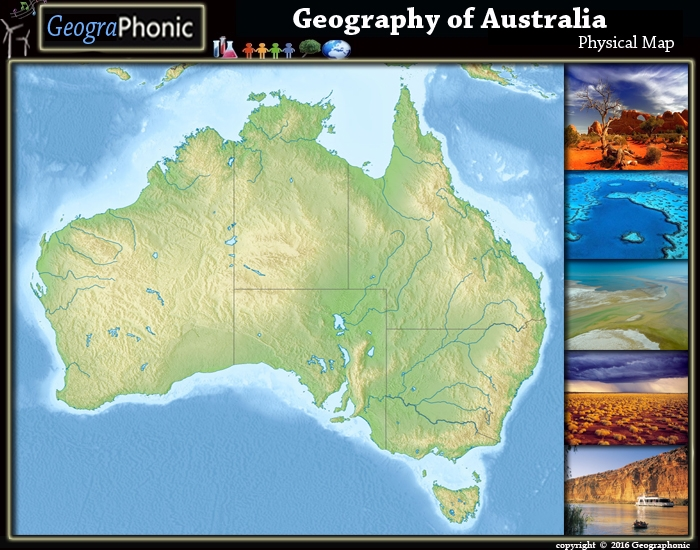 Geography of Australia Physical Map