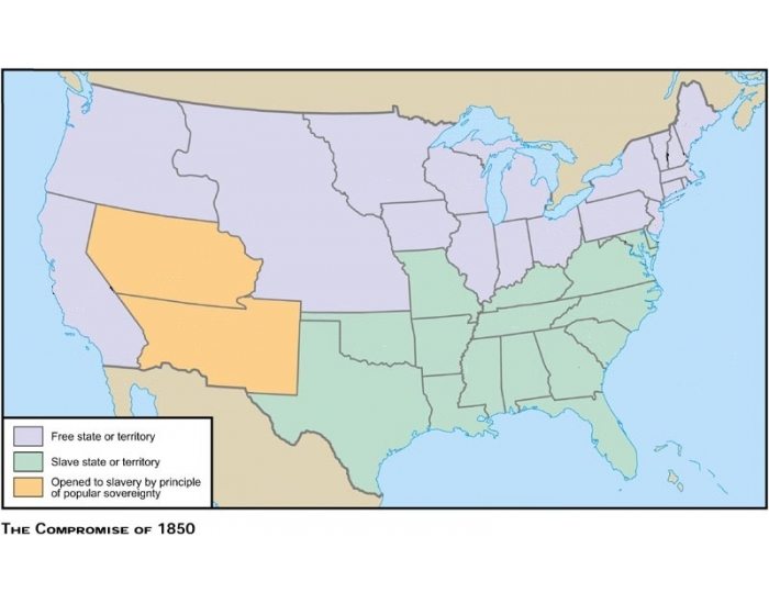 United States PurposeGames - Compromise of 1850 map