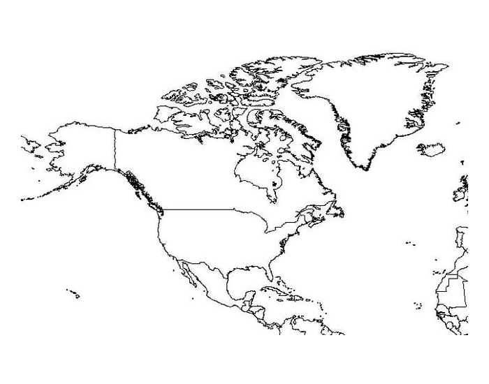 North America Map Quiz with Selected Countries