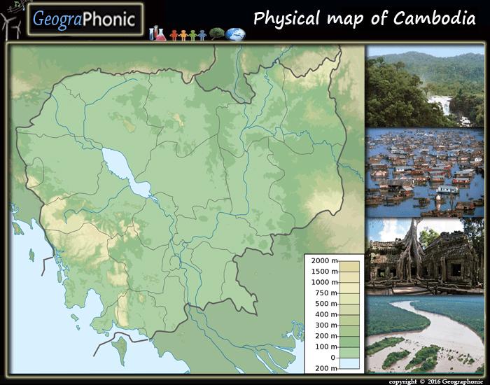 Physical map of Cambodia