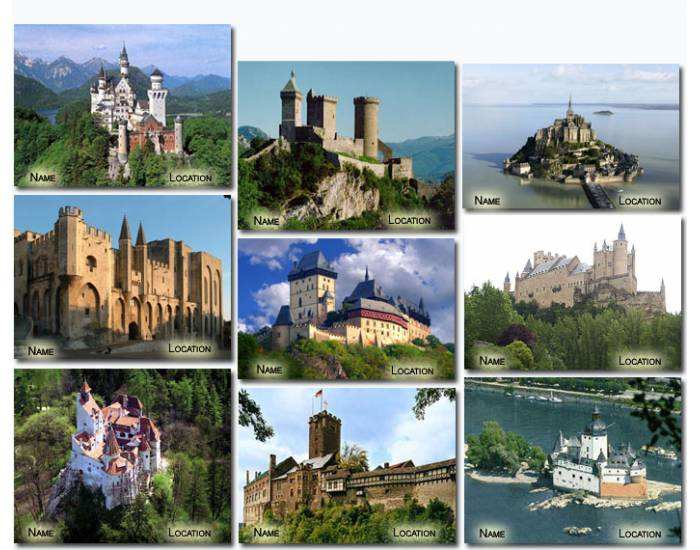 Famous European Castles (by name and location)