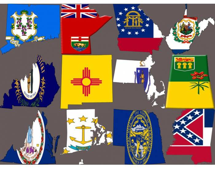 Flag maps North american states part 2