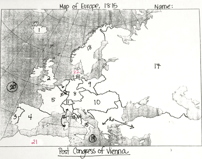 Map of Europe, 1815 - PurposeGames