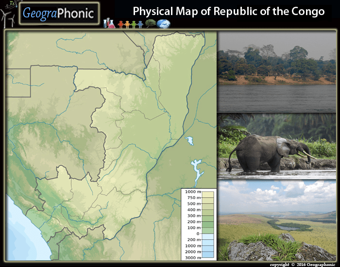 Pysical Map of Republic of The Congo