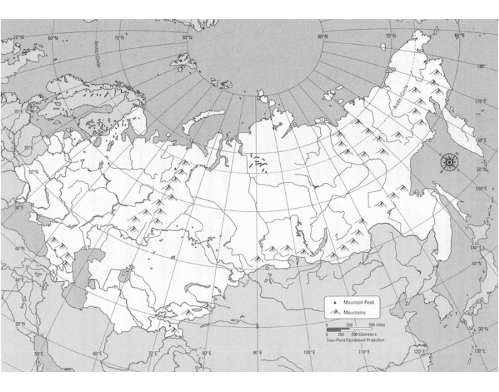 Russia The Republics Physical Map Quiz
