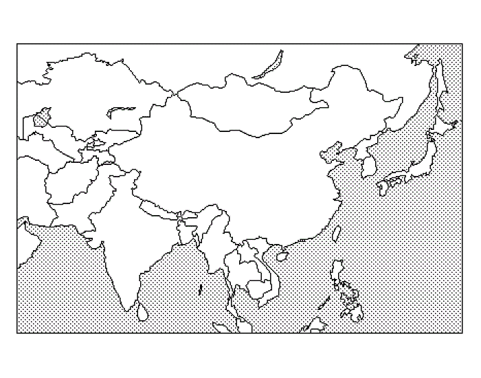 blank northern asia map