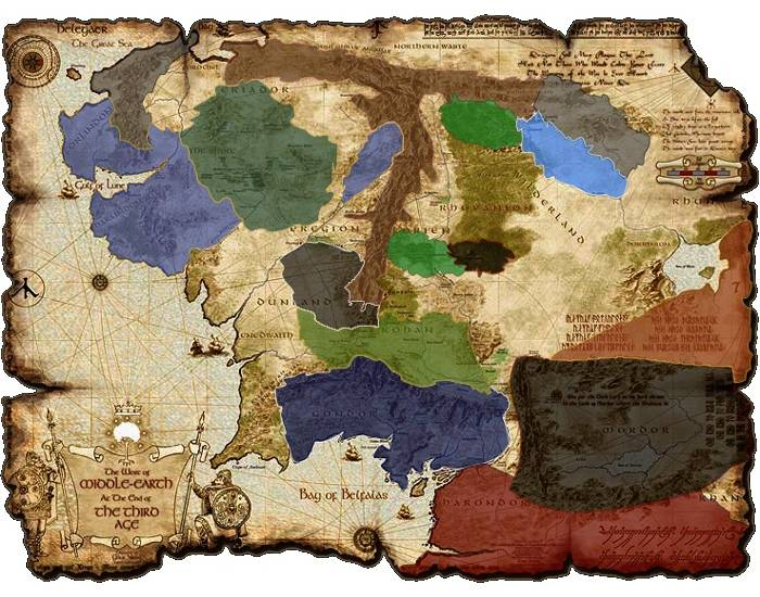Political map of Middle Earth   PurposeGames
