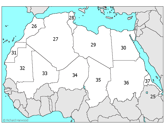 blank northern africa map