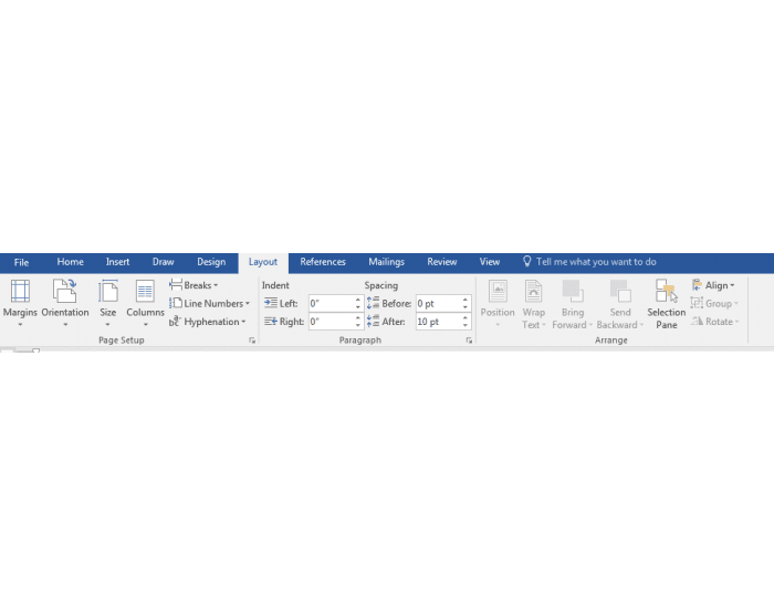 how to create tabs word 2016