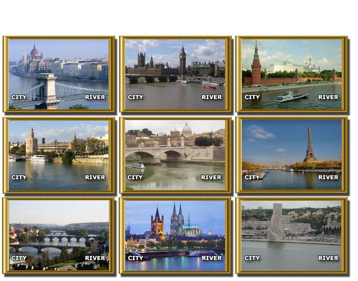 Cities and Rivers of Europe (tourist postcards)