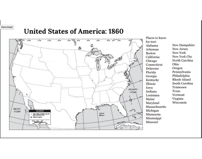 USA Map of States in 1860