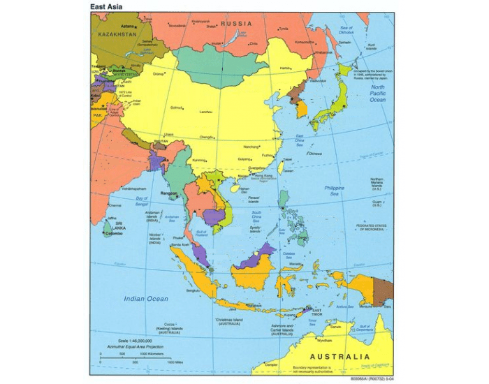 East and Southeast Asia Political Map
