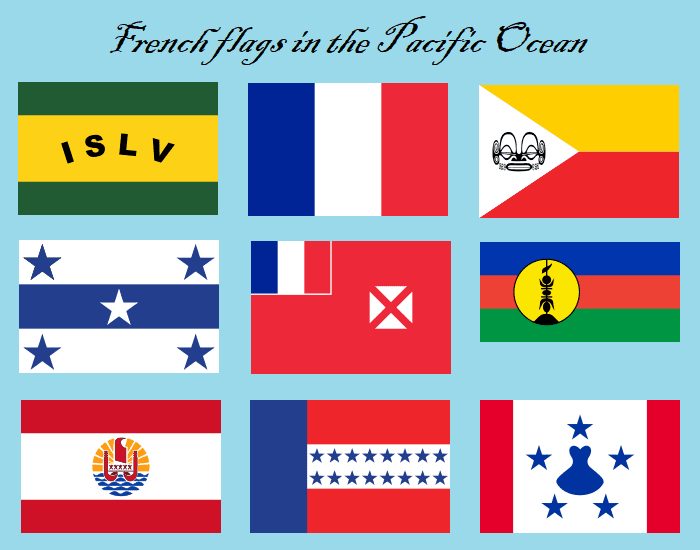 French flags in the Pacific Ocean