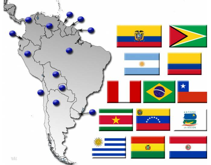 South America by Flag, Capital and Country