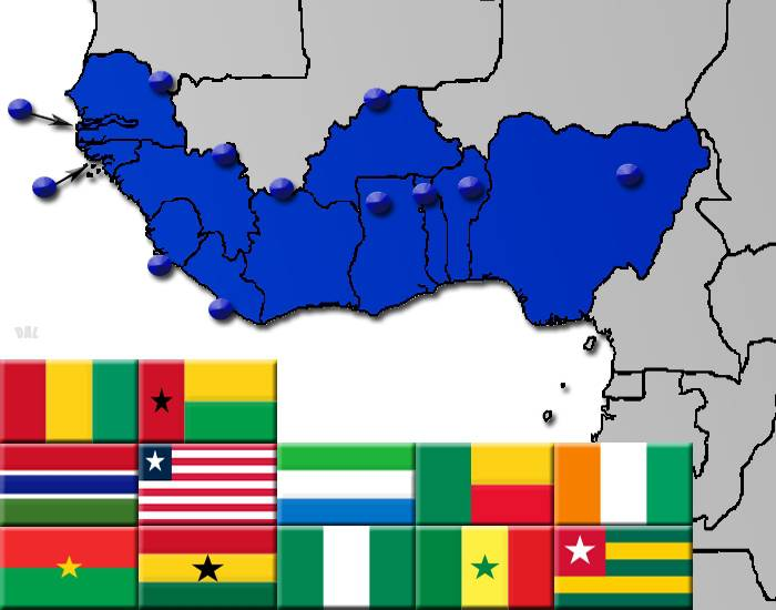 West Africa by Flag, Capital and Country