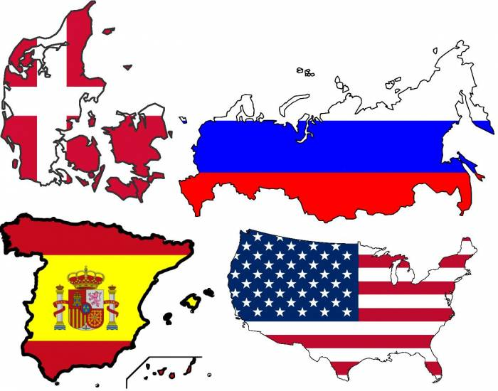 The three biggest cities in USA, Russia, Denmark and Spain