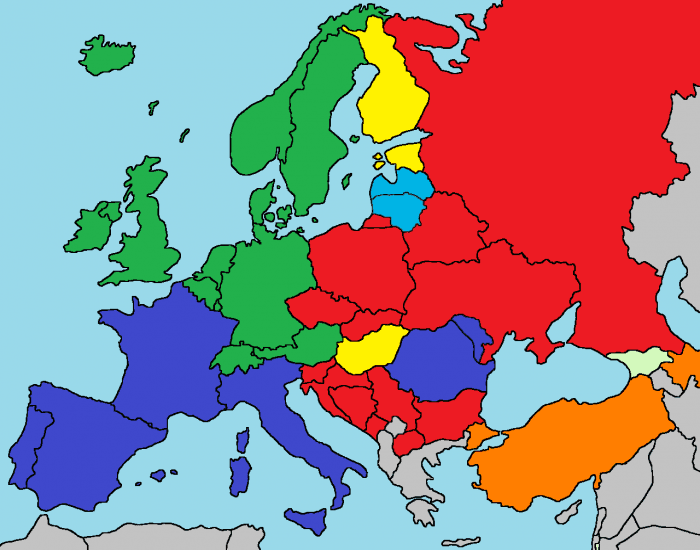Main linguistic groups of Europe by majority of native speakers per country