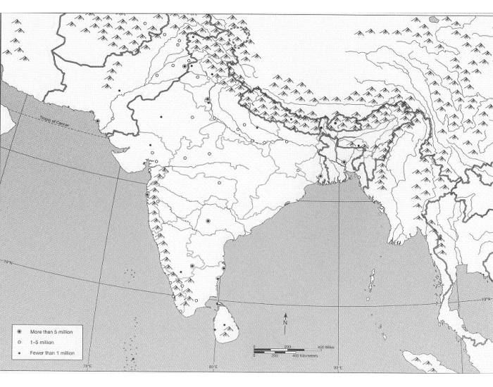 Physical Map South Asia