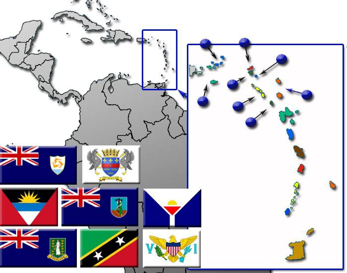 Caribbean Leeward Islands by Flag, Capital and Country