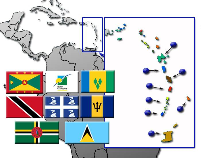 Caribbean Windward Islands by Flag, Capital and Country