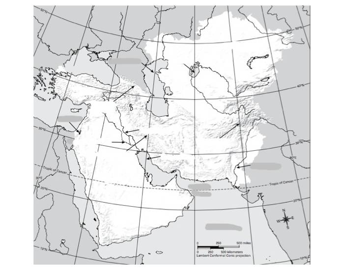 South-West and Central Asia Physical Features - PurposeGames