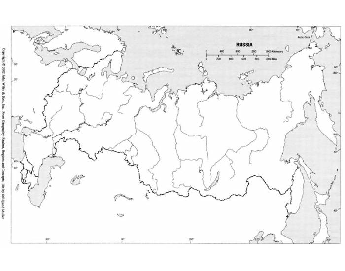 Russia & The Republics Physical Map